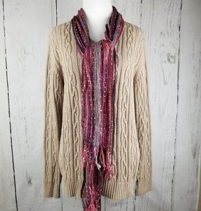 Croft & Barrow Beige Cable Knit Sweater Size XL